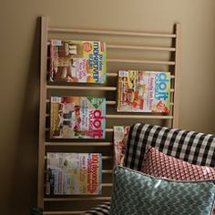 Crib railing turned magazine rack