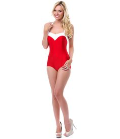 50's Style Red & White Two Tone Princess One Piece Swimsuit - Unique Vintage - Cocktail, Pinup, Holiday & Prom Dresses.