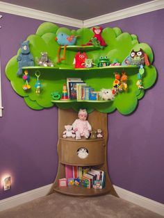 Rhodes Children's Tree Bookcase di BeezleeCreations su Etsy, ideas for kids Tree Bookshelf, Tree Shelf, Bookshelf Design, Nursery Bookshelf, Tree Wall, Diy Projects For Kids, Diy Furniture Projects, Tree Furniture, Children Furniture