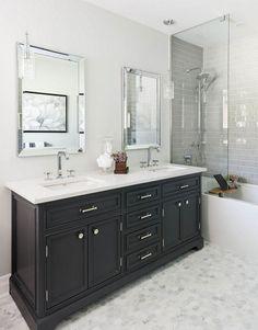New Bathroom Colors Dark Black Vanity 20 Ideas Bathroom Floor Tiles, Bathroom Colors, Bathroom Ideas, Room Tiles, Bathroom Marble, Bath Tiles, Mirror Bathroom, Bathroom Lighting, Bathroom Layout