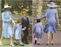 "In 1987 Diana and Prince William attended Easter morning service on April 19th at St George's Chapel at Windsor Castle. Peter Phillips, Prince William's cousin accompanied them. It was the first time that William had attended an Easter service, and he and Diana wore matching coloured pastel blue wool double breasted coats with white buttons and trimmings, by designer Catherine Walker. Diana finished her look with a matching coloured ""Cavalier"" style hat."