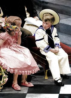 Prince William misbehaving at Prince Andrew's wedding in 1986. (But he looks dashing..lol)
