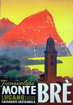 Vintage Travel Poster - Monte Brè -  Lugano - Italy.