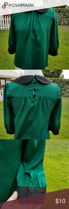 Green Blouse Green Blouse with Black Peter Pan Collar. Worn just once. Such an adorable Blouse. Button back Tops Blouses
