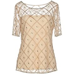 Musani Couture Blouse ($105) ❤ liked on Polyvore featuring tops, blouses, beige, sequin beaded top, sequin blouse, beaded blouse, beige top and sequin top