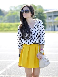 ...yellow & Dots...  #Dotted #Shirts & Blouses #Skirts #Shoulder