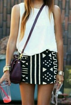 This tribal patterned skirt is an example of a fairly recent trend.  I would label the tribal print apparel as trendy because the awareness of this particular pattern has grown.