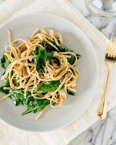 Fettucine Alfredo with Spinach