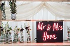 Celebrations – Custom Personalised Neon Sign Palms Pineapples Marquee Garden Wedding www. 2018 Wedding Trends, Best Wedding Venues, Our Wedding, Wedding Blog, Dream Wedding, Marquee Wedding, Wedding Signage, Personalized Neon Signs, Marquee Sign