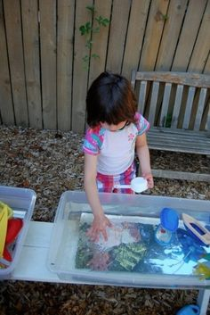 acrylic mirrors were added to the water tubs for the children to explore. The children enjoyed looking at and playing with their own reflections as well as that of the objects they were playing with.