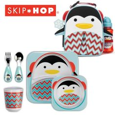 """Skip Hop lunch set: The Limited Edition ZOO Lunchie Gift Set has an insulated, wipe-clean interior and the matching Zoo straw bottle gives little ones a """"big-kid cup"""" with the protection of a flip top lid. The dishwasher safe plate, bowl and tumbler with matching spoon and fork are easy for kiddos to hold. Available in Polar Bear, Penguin and Moose. #SkipHop #HolidayGiftGuide"""