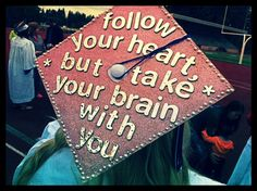 It has become a tradition at many colleges and even some high schools to decorate your graduation cap! Check out these 20 crazy awesome graduation cap ideas! From total bling to cute quotes get some inspiration here! Graduation Cap Designs, Graduation 2016, Graduation Cap Decoration, Graduation Gifts, Graduation Pictures, Graduation Quotes, Abi Motto, Grad Hat, Cap Decorations