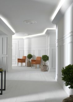 Uplighting effect with the use of LED strip lights and 'lighting solution' coving from NMC Copley