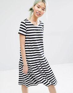 Monki | Monki Stripe Drop Hem Dress at ASOS