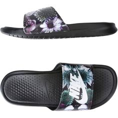 Nike Sandals ($36) ❤ liked on Polyvore featuring shoes, sandals, black, rubber sole sandals, floral-print shoes, floral flat shoes, black floral shoes and black flat shoes