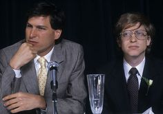 1984: Jobs with his rival Bill Gates, co-founder of Microsoft, during an interview in New York
