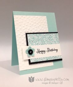 Stampin up stamp it pretty mary fish sweet sorbet remembering your birthday card ideas decorative dots embossing folder by maggie Handmade Birthday Cards, Happy Birthday Cards, Greeting Cards Handmade, It's Your Birthday, Birthday Greetings, Pretty Cards, Cute Cards, Bday Cards, Embossed Cards