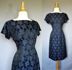 1950s dress / 60s blue damask wiggle dress // Brocade Bombshell
