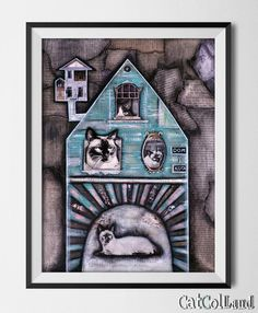 Cat's house Mixed Media Collage 16x 20 original art by CatColLand