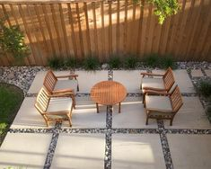 Inexpensive 16 In X 16 In Patio Stones Surrounded By Pea