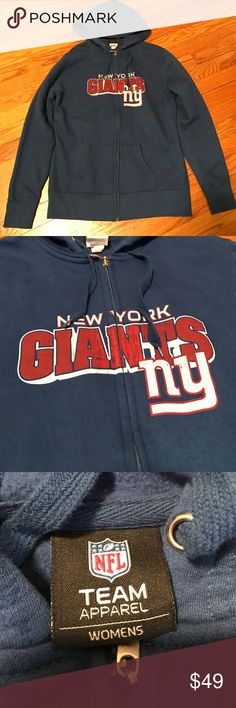 New York Giants Zippy Hoodie worn once. size large. 60% cotton 40% polyester. NFL Team Apparel. fleece lining. NFL Team Apparel Tops Sweatshirts & Hoodies