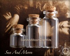 10 Large Clear Glass Vials With Corks50mm by SunAndMoonCraftKits, $5.00