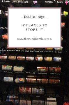 Are you wondering where to store your food storage? Read through these 19 ideas which can work for large and small homes. Most of the ideas are great for those living in apartments and small spaces. Food Storage Organization, Canned Food Storage, Storage Ideas, Long Term Food Storage, Small Space Storage, Survival Prepping, Emergency Preparedness, Emergency Food Supply, Green Powder