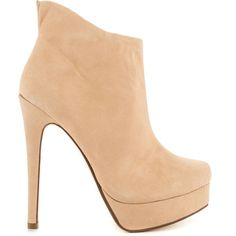 Kristin Cavallari Women's Lavish - New Nude Suede ($160) ❤ liked on Polyvore featuring shoes, boots, ankle booties, beige, stiletto boots, faux suede booties, suede boots, beige suede boots and suede booties