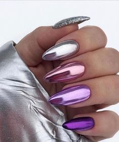 34 Trendiest and Newest Almond Nail Design You Must Have. Almond Nails Designs are a favorite style in the realm of manicure. Almond Nail Art, Almond Acrylic Nails, Long Almond Nails, Solid Color Nails, Nail Colors, Acrylic Nail Designs, Nail Art Designs, Chrome Nails Designs, Chrome Nail Art