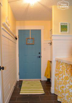 laundry room revamp back door at thehappyhousie - Door color: Ash Blue by Benjamin Moore.  Yellow is Buttermilk by Benjamin Moore.