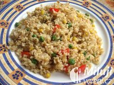 bulgur se zeleninou Polenta, Quinoa, Fried Rice, Tofu, Fries, Healthy Recipes, Vegan, Ethnic Recipes, Bulgur