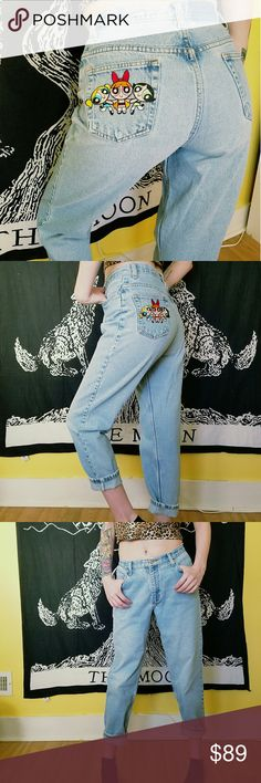 Vtg Powerpuff Girls Mom Jeans One of a kind vintage 90's mom jeans. All three powerpuff girls on back pocket. Light wash, high waist, tapered leg  Measurements   14.5 across waist  19.5 hip 30.5 inseam      Tagged Levi's for exposure  Tags Grunge goth pastel vintage retro high waist bottoms pants hippie hipster mom jeans wedgie pants boyfriend fit tapered slim skinny ankle denim urban outfitters punk rock alternative lolita cartoon network 1990 90s power puff Levi's Jeans