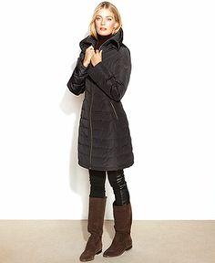 MICHAEL Michael Kors Coat, Quilted Long-Length Puffer - Coats - Women - Macy's