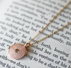 rose gold necklace with cognac diamond