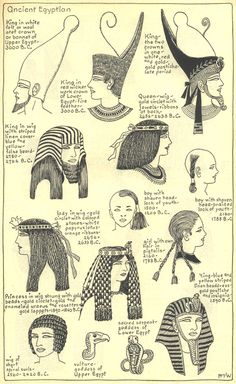 Village Hat Shop Gallery :: Chapter 1 - Ancient Egyptian :: Illustrations of the different hat styles of the Ancient Egyptians. of Egypt Ancient Art, Ancient History, Art History, Ancient Greek, Egyptian Fashion, Ancient Egyptian Clothing, Ancient Egypt Fashion, Ancient Egyptian Religion, Egypt Art