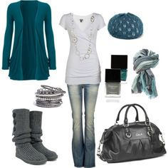 """""""Blue and Grey. Winter, come soon!"""" ...grey cardi Uggs <3"""