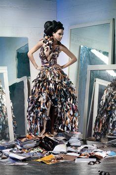 Kağıt parçalarından yapılmış bir gece elbisesi - Hanimefendi.com - Kadın sitesi