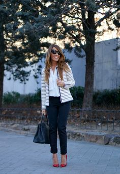 stripes, blue pants, and red heels