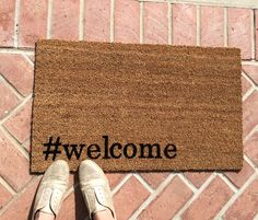 Welcome mat. Hand painted, customizable, funny doormat shows your guests your trendy side! Great wedding or housewarming gift!