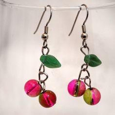 Watermelon Cherry Earrings. $6.00, via Etsy.