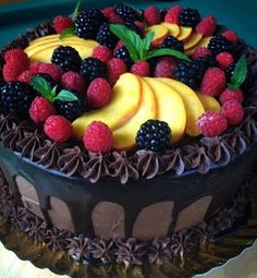 Black Forest Chocolate Cake Topped with Fresh Fruit