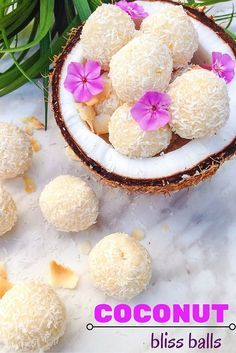 Coconut Bliss Balls - Vegan Recipes - Healthy vegan coconut balls that make a great snack on the go! These come together in 10 minutes! Healthy Vegan Snacks, Vegan Treats, Healthy Dessert Recipes, Raw Food Recipes, Paleo, Baking Recipes, Vegan Snacks On The Go, Coconut Recipes, Vegan Food