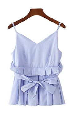 Trendy-Road-Style-Shop-Online-Woman-Fashion-Street-top-blouse-sleeveless-vneck-stripes-ruffles-tank-blue
