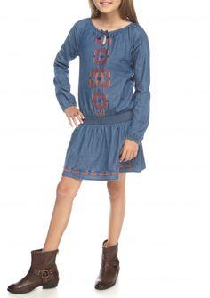 Lucky Brand Chambray Peasant Dress Girls 7-16 - Belk.com