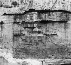 1928 view of the carving on Stone Mountain at @Stone Mountain Park