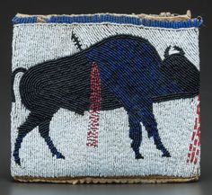 American Indian Art:Beadwork and Quillwork, A CHEYENNE RIVER SIOUX PICTORIAL BEADED HIDE POUCH... Image #2