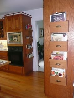 Cookbook Storage Design, Pictures, Remodel, Decor and Ideas Magazine Organization, Kitchen Organization, Kitchen Storage, Organization Ideas, Cookbook Display, Cookbook Storage, Dorm Room Layouts, Dorm Rooms, Recipe Book Holders