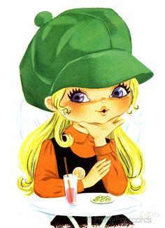 big eye girl in a big green hat
