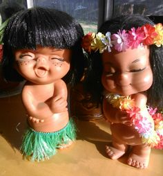 Adorable pair of vintage Hawaiian dolls by CyDshop on Etsy