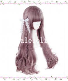 Harajuku Mixed Taro Color & Pink Long Curly Hair Lolita Wig